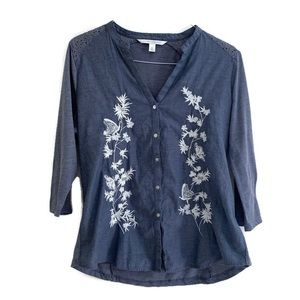 LC Lauren Conrad Embroidered Blue Shirt Blouse